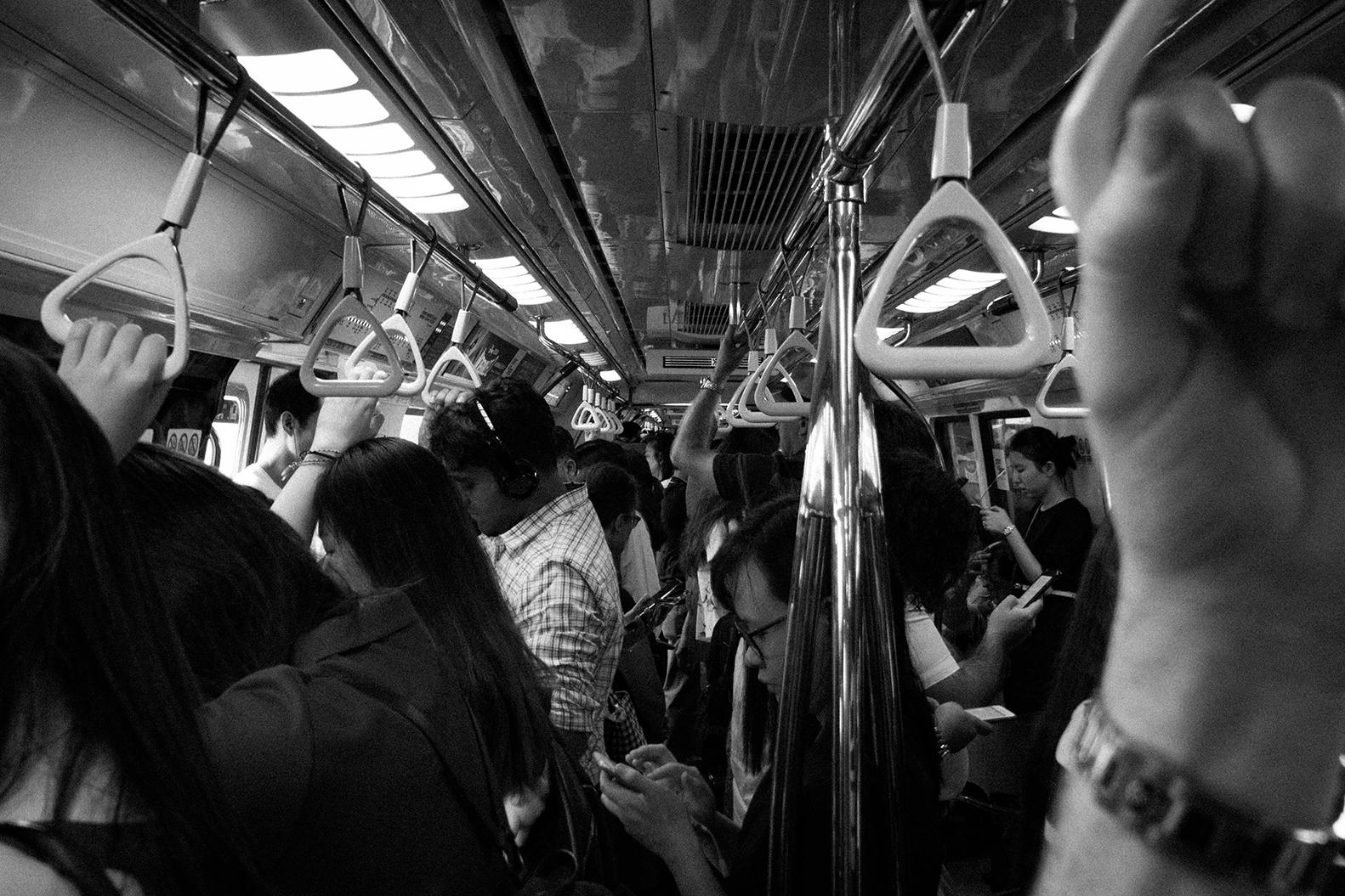 Crowded MRT train in Singapore